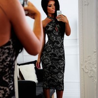 Passion Black & Nude Lace Keyhole Bodycon Midi Dress - New In   Pink Boutique