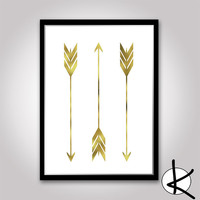Three Gold Arrows Wall Art, Digital Prints, Arrow Wall Art, Downloadable Art, Gold Leaf, Arrow Art, Digital Art, Arrow Prints