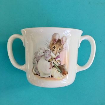 Peter Rabbit Baby Shower Gift, Peter Rabbit Baby Cup, Two Handles, Royal Albert, New Baby Gift, Pink Baby Gift, Baby Hospital Gift