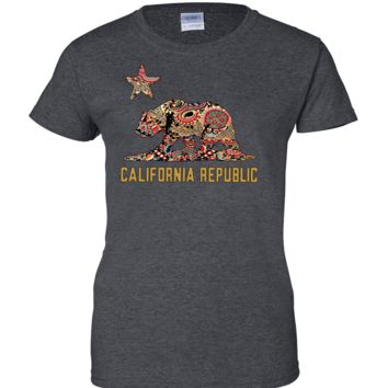 California Republic Paisley Bear Ladies T-Shirt