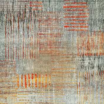 6900 Orange Distressed Contemporary Area Rugs