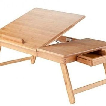 Laptop Lap Desk Adjustable Bed Table Tray Breakfast Portable Folding Bamboo