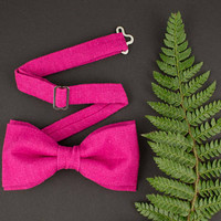 Magenta Bow Tie Linen Bow Tie for Men Fuchsia Bow Tie Deep Pink Bow Tie Mens Bow Tie Gift for Men Wedding Bow Tie Prooms Bow Tie for Women