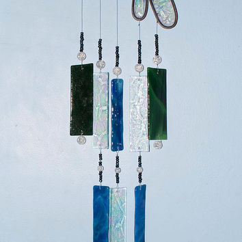 Illume Glass Studio Handmade Stained Glass Dragonfly Wind Chime