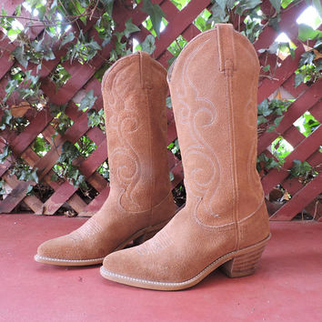Suede Acme boots / 7.5 USA / 38 EU / cognac suede western cowgirl boots / brown leather cowboy boots / made in USA / SunnyBohoVintage