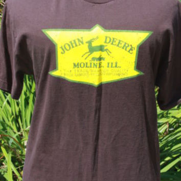 AAA John Deer Brown Graphic Logo Tee T-Shirt Large Tractor