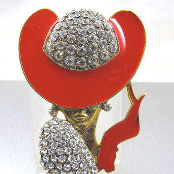 "Art Deco Style Brooch Fashionista Rhinestone Red Enamel Hat Dress Figural Wearable Art  3"" Glamour Girl"