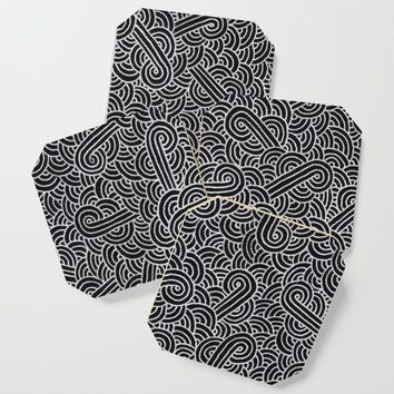 Black and faux silver swirls doodles Coaster by savousepate