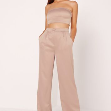 Missguided - Satin Wide Leg Trousers Nude