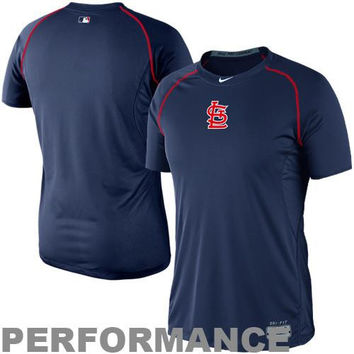 Nike St. Louis Cardinals Pro Combat Core Raglan Performance T-Shirt - Navy Blue