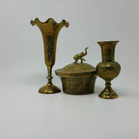 Vintage India Brass Vase Set Two Vase Trinket Stash Box