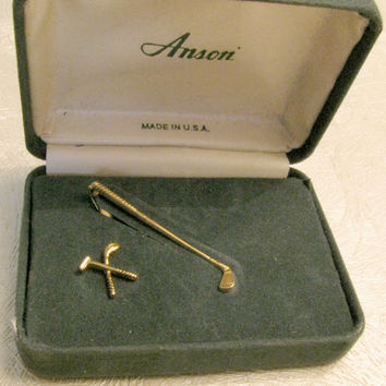 Golf Club Tie Tack and Tie Clip, Gold tone, Anson, Original Presentation Box, Green Velvet, Made in USA,Gift Set