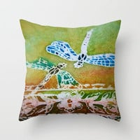 Dragonfly Batik Throw Pillow by Rosie Brown | Society6