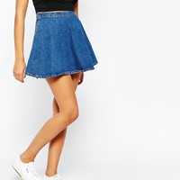 American Apparel Circle Denim Skirt at asos.com