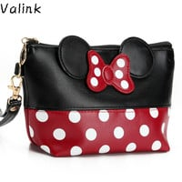 Valink 2017 Women PU Leather Butterfly Bow Makeup Bag Wristlet Cosmetics Bags Fashion Small Travel Pouch Neceser Maquillaje Sac