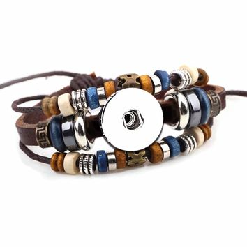 Bohemian Style Multi Layer Leather Bracelet W/ Beads Easy Adjustable Pull DIY Build Your Own 18MM - 20MM Snap Jewelry New Item