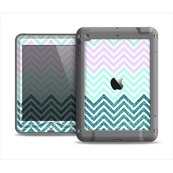 The Light Teal & Purple Sharp Glitter Print Chevron Apple iPad Mini LifeProof Nuud Case Skin Set