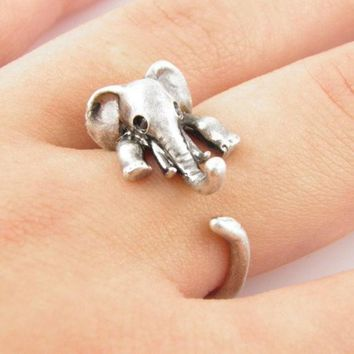 ONETOW Vintage Retro Cute Elephant Ring +Gift Box