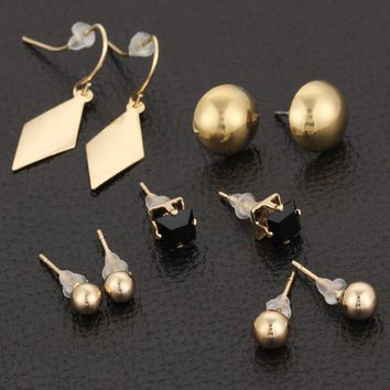 Unicorn Gold Color Beads Stud Earrings For Women 5pairs/Set