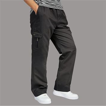 Xl-6Xl Oversize Military Style Cargo Pants Full Length Black Cotton Cargo Pants Pantalon Home Autumn And Winter Trouser A2568