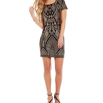 Jump Diamond Glitter Pattern Sheath Dress | Dillards