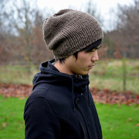 Men's Hat Hand Knit Slouchy Beanie Brown