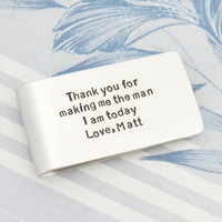 Personalized gift for father of the groom - Signed money clip gift for dad from groom - Father of groom gift from the groom
