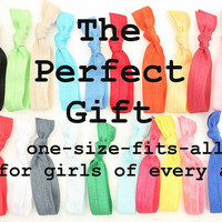 One Size Fits All Girl's Birthday Gift - 15 Ribbon Ties - No Tug Ponytails - Best Gift For Kids, Teens, Women, Moms, Friends, Sisters