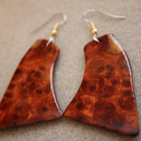 Unique shape Pistol Grip, Rare, Amboyna Burl Exotic Wood Earrings by ExoticwoodButtonsAnd Ecofriendly