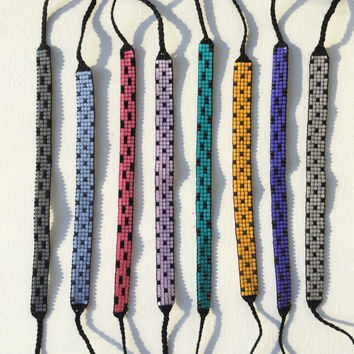 Seed Bead Friendship Bracelet - Polka Dots & Brushstrokes