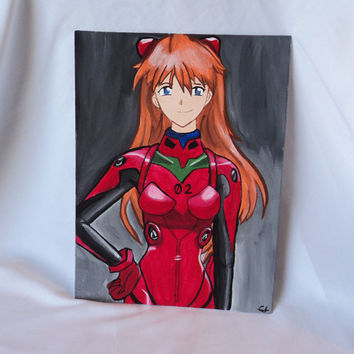 "Neon Genesis Evangelion Asuka Anime Art Painting 9"" x 12"" Red Plugsuit Home Decor"