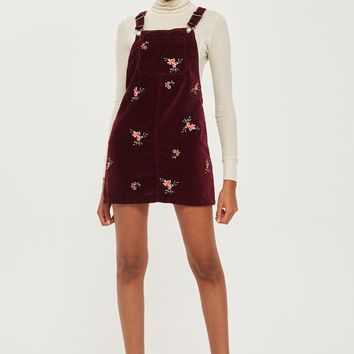 MOTO Velvet Embroidered Pinafore Dress - Dresses - Clothing