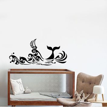 Vinyl Wall Decal Cartoon Sea Waves Ship Nautical Whale Tail Stickers (3719ig)