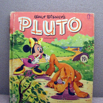 1957 Pluto Vintage Walt Disney Childrens Book by VintageWoods