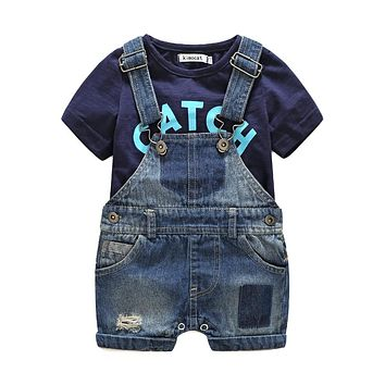 Short sleeve Baby boy's clothing sets infant Jumpsuit clothes Baby Suit Boys t-shirts+denim shorts denim