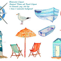 Watercolour clipart - Hand painted watercolor palm trees, sea grass and driftwood for instant download.