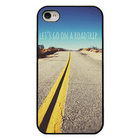 Iphone case - Iphone 4 and 4s case - quote iphone case - lets go on a roadtrip - iphone case for men - trendy  iphone case