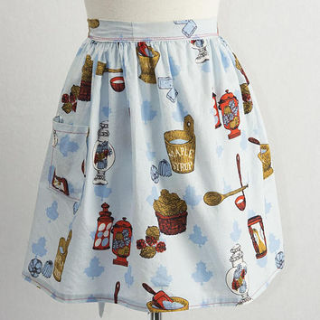 Vintage Novelty Print Maple Syrup Apron with Hip Pocket Kitchen Hourglass Maple Leaf Spoons