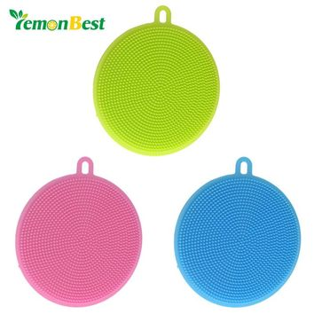 LemonBest Food-grade Antibacterial Silicone Dishwashing Dish Brush Sponge Towel Scrubber For Kitchen Pot Pan Dish Bowl Fruit