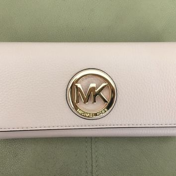 MICHAEL KORS Fulton Leather Flap Continental Wallet ( Blossom Pink )