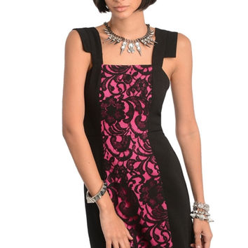 Contrast Lace Inset Sheath Dress