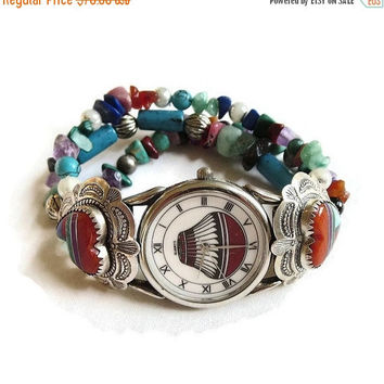 Turquoise, Coral & Lapis Bracelet Watch Sterling Silver Vintage Southwest signed Q.T.