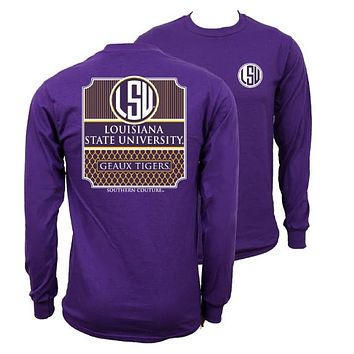 Southern Couture Preppy LSU Tigers Louisiana State University Long Sleeve T Shirt