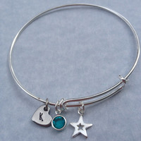 Personalized Bangle Bracelet - Sterling Silver Star - Stainless Heart Charm- Silver Bangle Charm Bracelet - Alex and Ani Style - Birthstones
