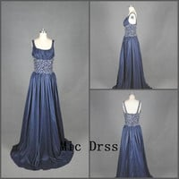 Square straps sleeveless floor-length sequins beads long Prom /Evening/Party/Homecoming/cocktail /Bridesmaid/Formal Dress