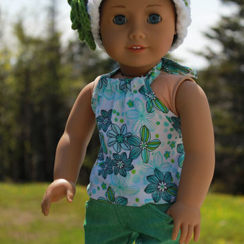 18 inch doll clothes,white floral halter top , green ripped skinny jeans, crochet hat with flower, american girl ,maplelea