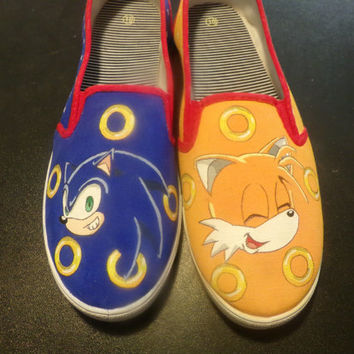 Custom Painted Shoes Sonic The Hedgehog and Tails Shoes Women's Size 10