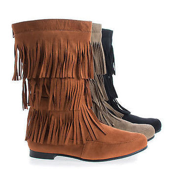 Starcy88A By Casual, Mid Calf Fringe Round Toe Moccasin Flat Boots