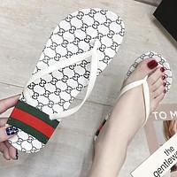 GUCCI Fashion Women Flat Sandal Slipper Shoes Flip-Flops White
