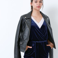 Taking Over Faux Leather Moto Jacket - Black